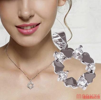 925 zilveren hanger met hartjes en zirkonen
