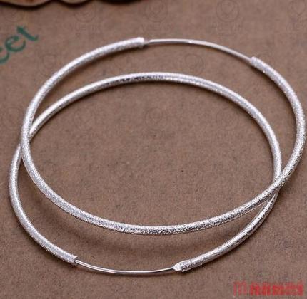 Klassieke 925 zilveren matte creolen 4,5 cm