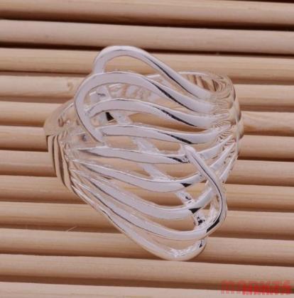 Mooie 925 zilveren Wave ring