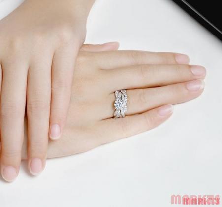 Zirkonen 925 sterling zilveren dubbel ring