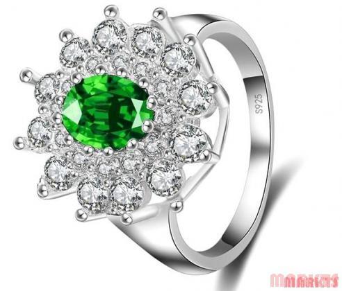 925 sterling zilveren ring met groene zirkoon van bloem