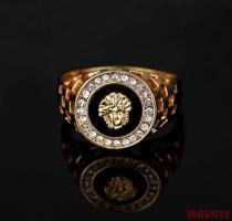 18K goud verguld heren ring van leeuw met zirkonen