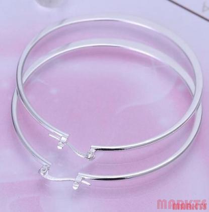 5,5 cm.diameter 925 zilveren oorbellen