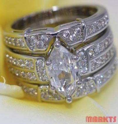 925 zilveren 3 ringen in 1 met topazen