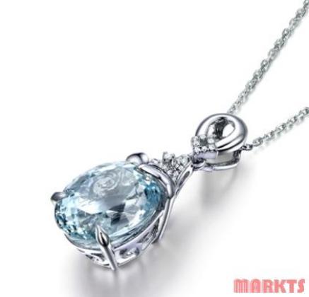 Dames 925 sterling zilveren aquamarine kettinghanger