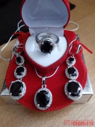 Luxe 925 sterling zilveren set met zwarte zirkonen