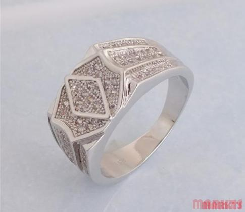 Zirkonen 925 sterling zilveren ring N 9