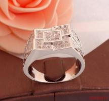 Zirkonen 925 sterling zilveren heren ring N 10