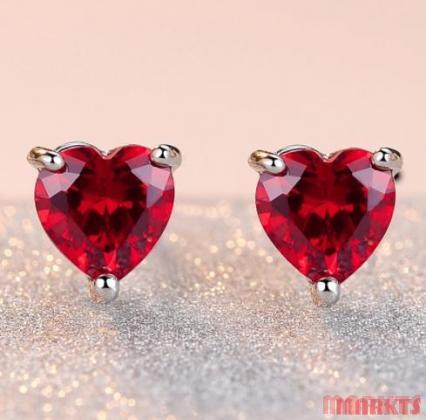 925 zilveren hart zirkoon oorbellen