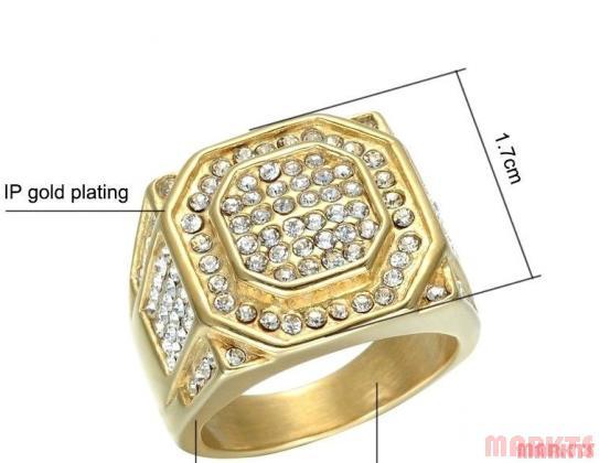 Fashion heren goud verguld ring met zirkonen