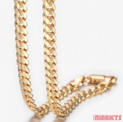 5 mm 18K goud verguld ketting lengte 60 cm